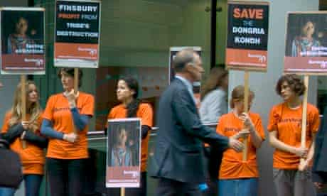 Survival International protest outside the offices of city agency Finsbury after the company ignored calls to resign a controversial account with mining company Vedanta
