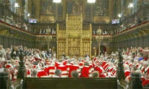 The House of Lords at the Palace of Westminster, during the State Opening of Parliament ceremony. Photograph: Martin Argles