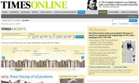 Times Online archive