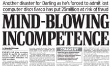 Daily Mail cover story on the lost computer discs row in November 2007