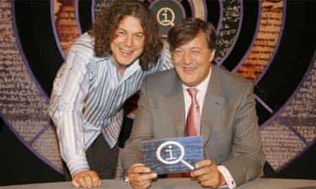 QI: Host Stephen Fry and regular panellist Alan Davies. Photograph: BBC