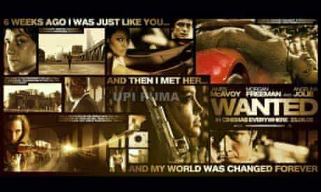 Poster for the Angelina Jolie and James McAvoy film Wanted banned by the Advertising Standards Authority (ASA) for glamorising gun crime