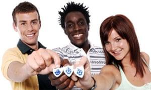 Blue Peter presenters Joel Defries, Andy Akinwolere and Helen Skelton