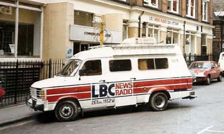 LBC's news van outside the original studios in Gough Square, EC4