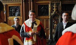 Peter Mandelson about to take his seat in the House of Lords