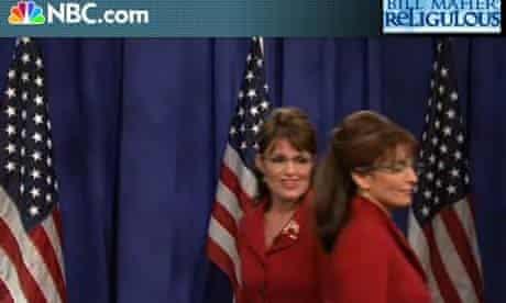 Screengrab of Sarah Palin and Tina Fey on Saturday Night Live