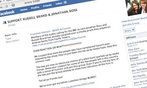 Russell Brand-Jonathan Ross Facebook group supporters to