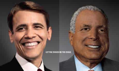 Obamccain: poster featuring white Barack Obama and black John McCain