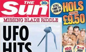 The Sun 'UFO hits wind turbine' front page