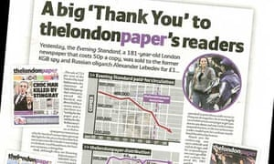 The London Paper, or thelondonpaper, celebrates DMGT's sale of the London Evening Standard