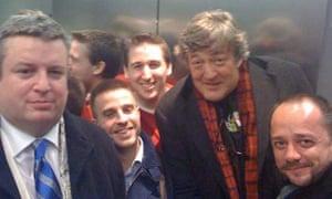 Stephen Fry stuck in a lift. Photograph: Stephen Fry/Twitter