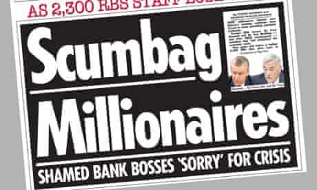 The Sun - 'Scumbag Millionaires' headline