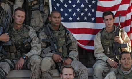Generation Kill: from left, Alexander Skarsgårdas Sgt Brad 'Iceman' Colbert; Jon Huertas as Sgt. Antonio 'Poke' Espera; and James Ransone as Cpl. Josh Ray Perso