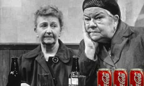 Product placement: mock-up of Coronation Street's Ena Sharples and Minnie Caldwell with cans of Coca-Cola