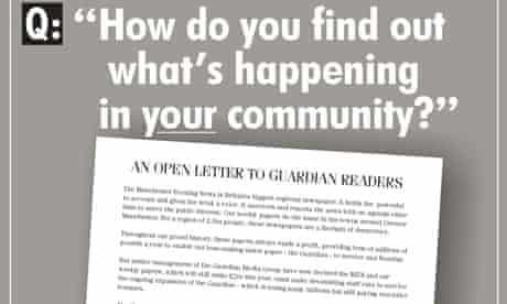 Full-page ad in the Guardian paid for by the NUJ protesting at job cuts at the Manchester Evening News and other regional newspapers published by Guardian Media Group