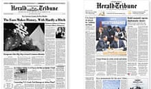 Previous designs of the International Herald Tribune, from the paper's online introduction to its redesign Photograph: International Herald Tribune