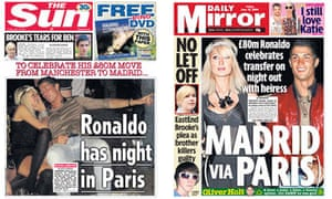 Ronaldo and Paris Hilton: Sun and Daily Mirror front pages