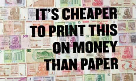 Ad for the Zimbabwean printed on worthless bank notes