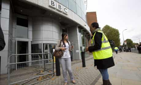 An anti-BNP protester leaflets outside the BBC's White City studios