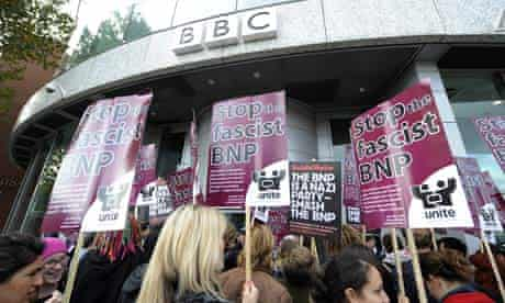 Unite Against Fascism demonstrate outside BBC TV Centre