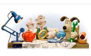 Wallace and Gromit on Google homepage