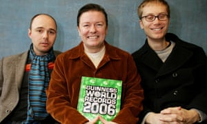 From left, Karl Pilkington, Ricky Gervais and Stephen Merchant