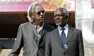 Kofi Annan and Bob Geldof at Cannes festival