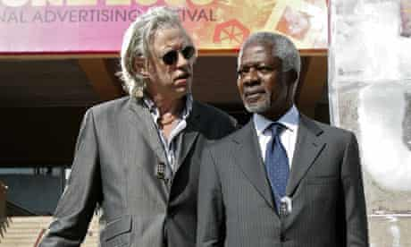 Kofi Annan and Bob Geldof at Cannes festival