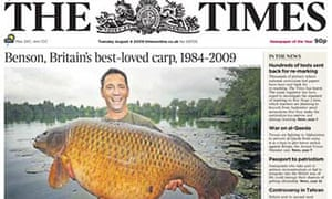 The Times 'Benson the carp' front page