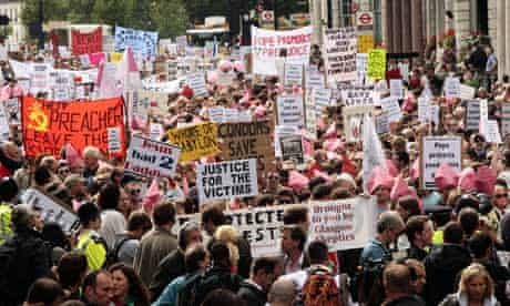 Protest against the Pope's state visit to the UK