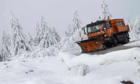 A snowplough in Koenigstein, near Frankfurt
