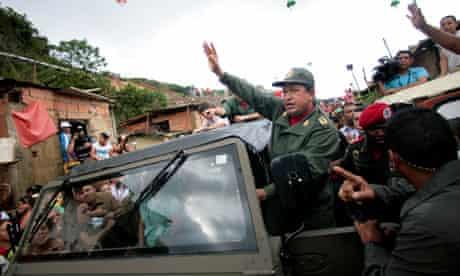 Venezuelan President Hugo Chavez visits rain-affected areas in Caracas