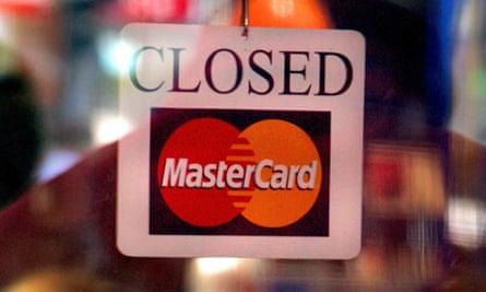 MasterCard closed sign