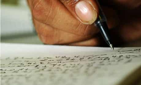 A journalist taking notes in shorthand