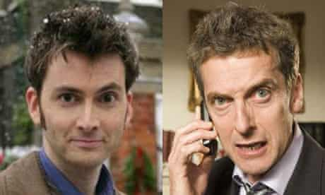David Tennant as the Doctor and Peter Capaldi as Malcolm Tucker