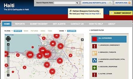 Haiti map on Ushahidi.com