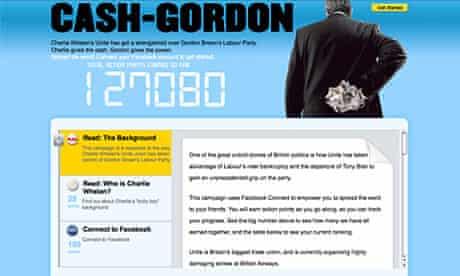 Conservatives' 'Cash Gordon' website