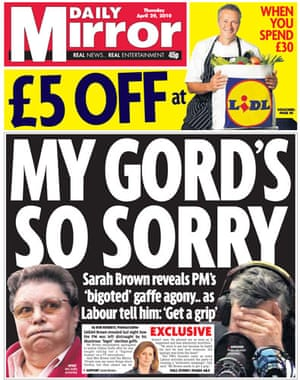 Gordon Brown bigot row: Daily Mirror