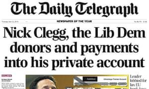 Daily Telegraph Nick Clegg expose