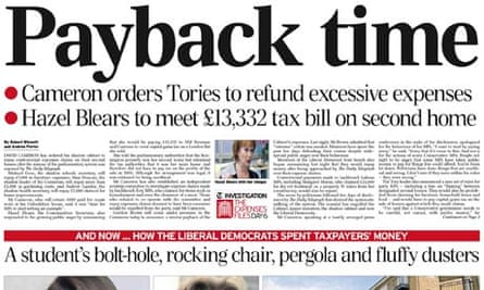 Daily Telegraph payback time headline