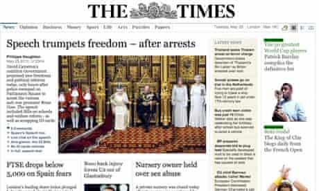 Times website after Queen's speech