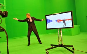 BBC election coverage: Jeremy Vine in front of the green screen for the 'swingometer'