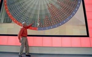 BBC election coverage: Peter Snow demonstrates the Swingometer in the 2005 studio