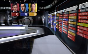 TV election coverage: ITV News election set with interactive touchscreen