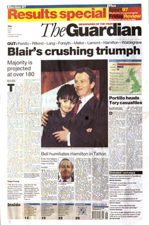 Guardian's 1997 election front page