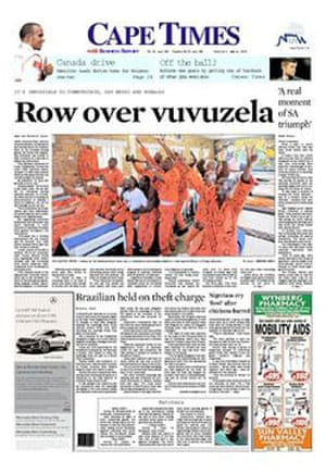 World Cup 2010 pages: Cape Times, South Africa