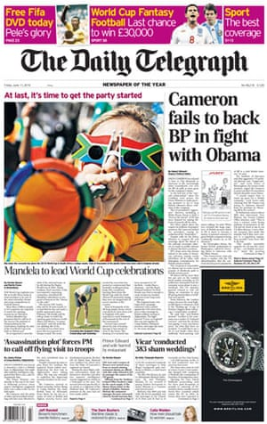World Cup 2010 pages: Daily Telegraph, UK
