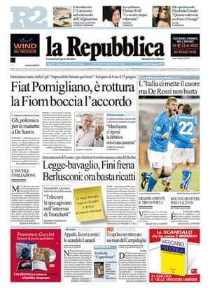 World Cup pages: La Repubblica, Italy