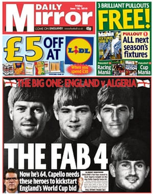 World Cup pages: Daily Mirror, UK