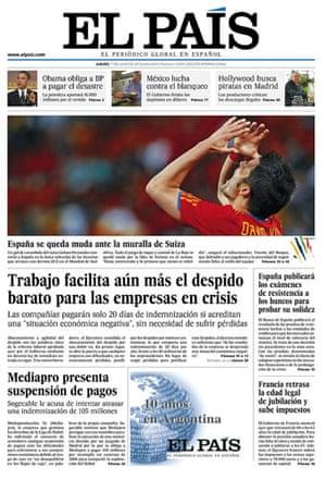 World Cup pages: El País, Spain